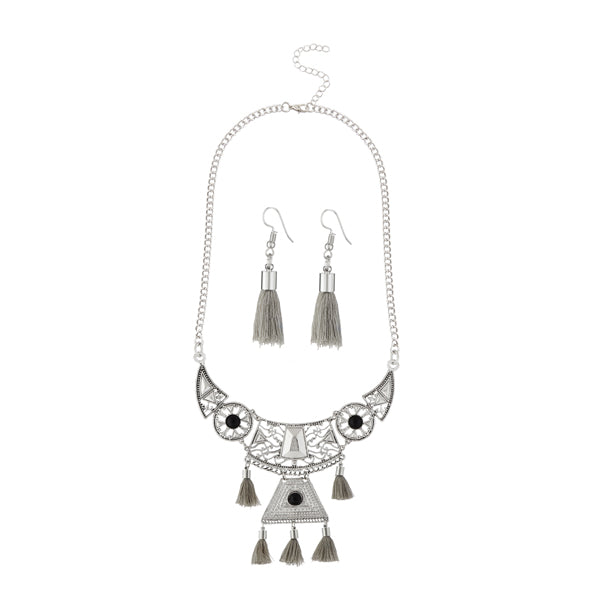 Jeweljunk Rhodium Plated Grey Thread Necklace Set