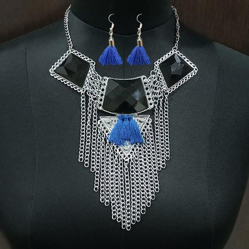 Jeweljunk Rhodium Plated Resin Stone Thread Necklace Set