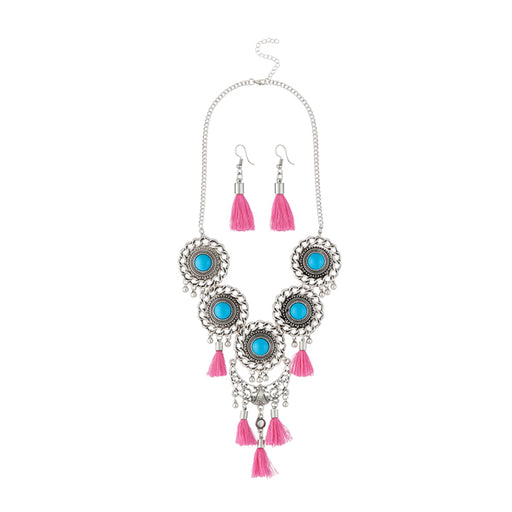 Jeweljunk Pink Thread Rhodium Plated Necklace Set