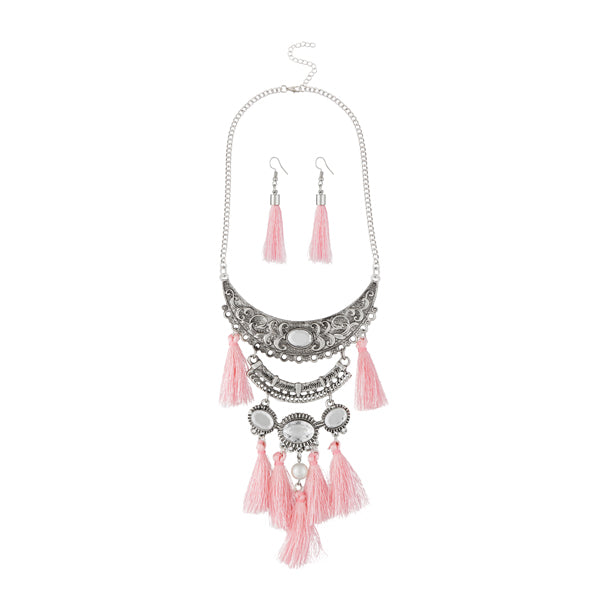 Jeweljunk Rhodium Plated Pink Thread Necklace Set