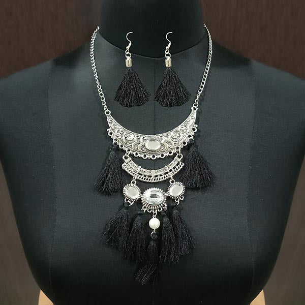 Jeweljunk Black Thread Rhodium Plated Necklace Set
