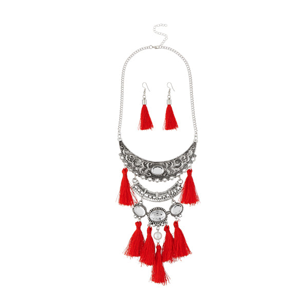 Jeweljunk Red Thread Rhodium Plated Necklace Set