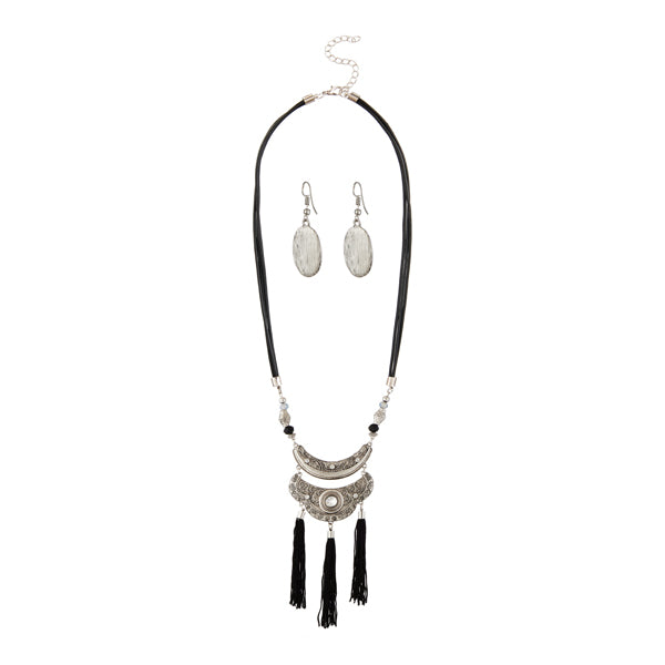 Jeweljunk Rhodium Plated Black Thread Necklace Set