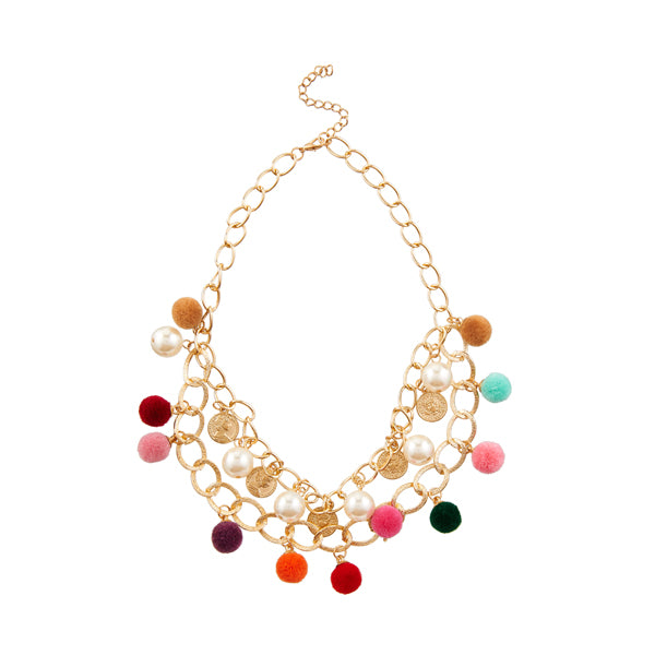 Jeweljunk Multicolour Thread Gold Plated Necklace
