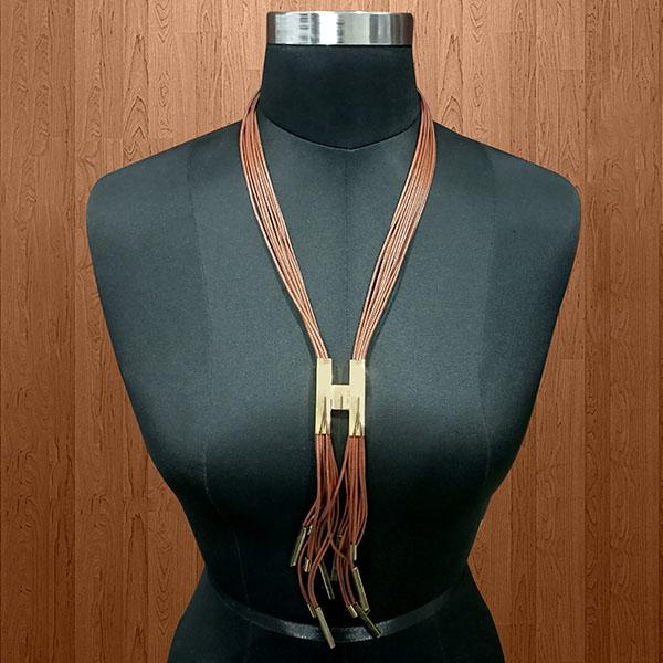 Urthn Brown Hanging Lace Statement Necklace