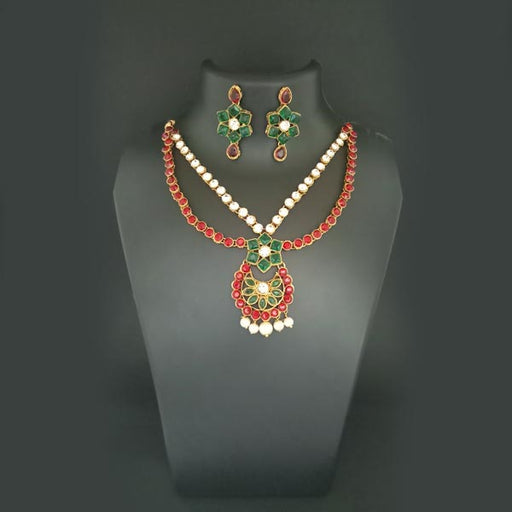 Midas Touch Red Kundan Stone Gold Plated Necklace Set