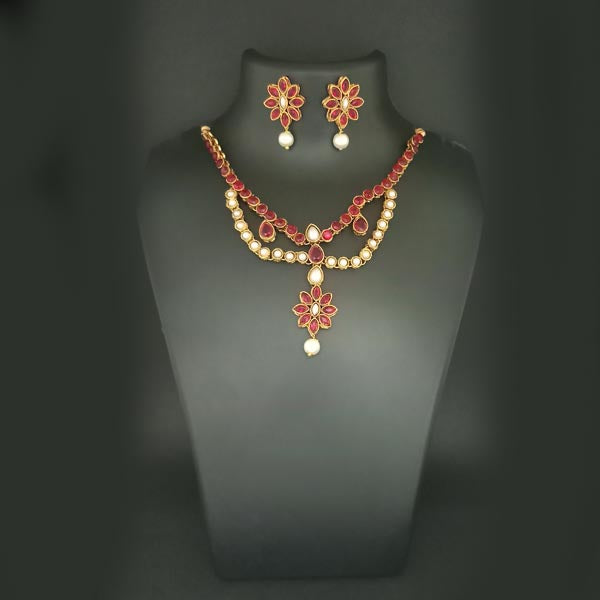 Midas Touch Gold Plated Pink Kundan Stone Necklace Set
