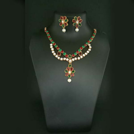 Midas Touch Maroon Kundan Stone Gold Plated Necklace Set
