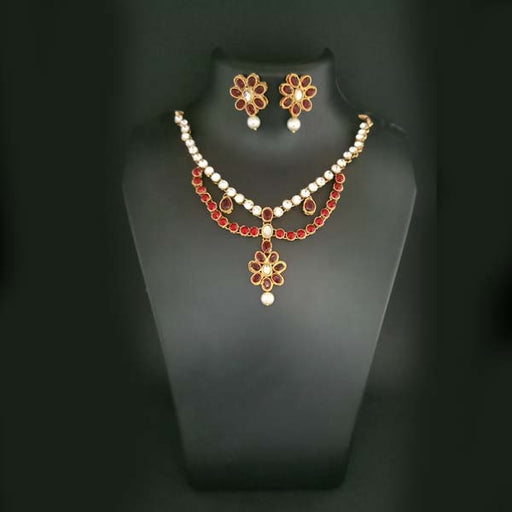 Midas Touch Gold Plated Maroon Kundan Stone Necklace Set