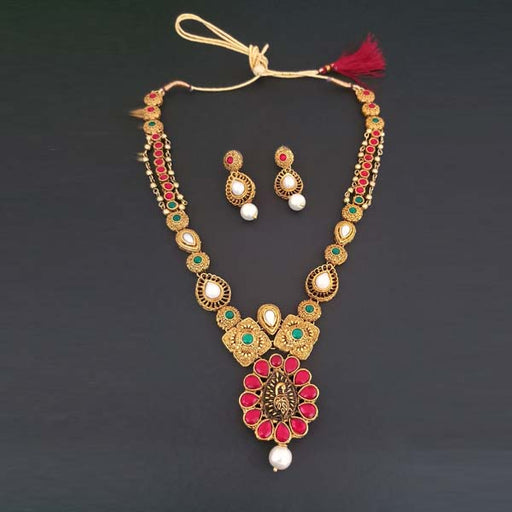 Midas Touch Gold Plated Red Kundan Stone Necklace Set