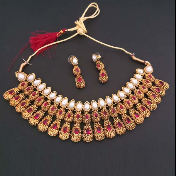 Midas Touch Pink Kundan Stone Gold Plated Necklace Set