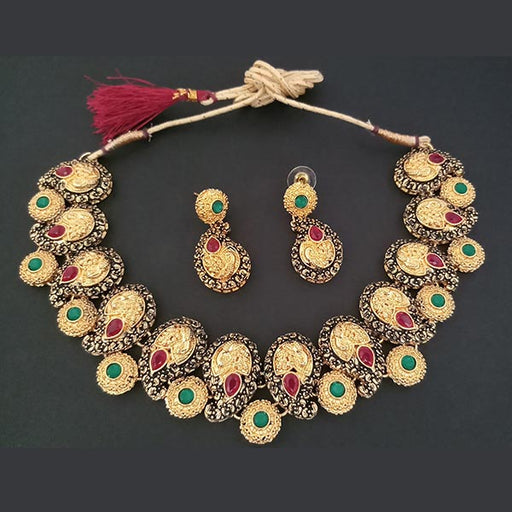 Midas Touch Gold Plated Green Kundan Stone Necklace Set