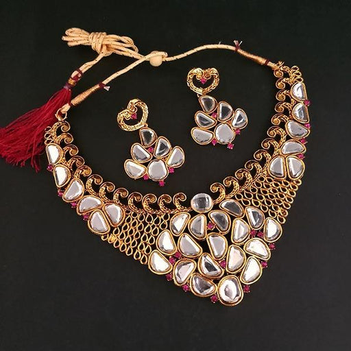 Midas Touch Gold Plated Kundan Austrian Stone Necklace Set -1112210