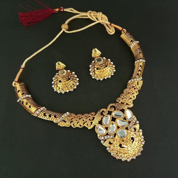 Kriaa Gold Plated Kundan Austrian Stone Necklace Set