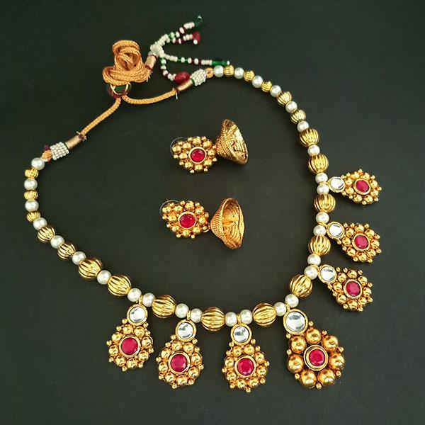 Midas Touch White Kundan Stone Gold Plated Necklace Set -1112215