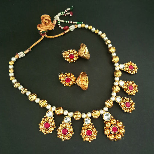 Midas Touch White Kundan Stone Gold Plated Necklace Set
