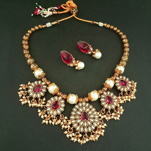 Midas Touch Purple Kundan Stone Gold Plated Necklace Set