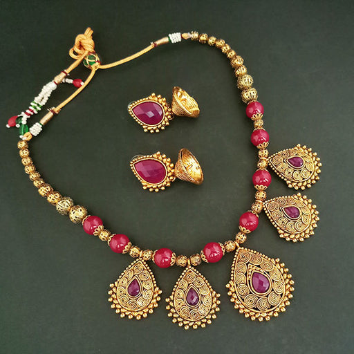 Midas Touch Purple Austrian Stone Gold Plated Necklace Set