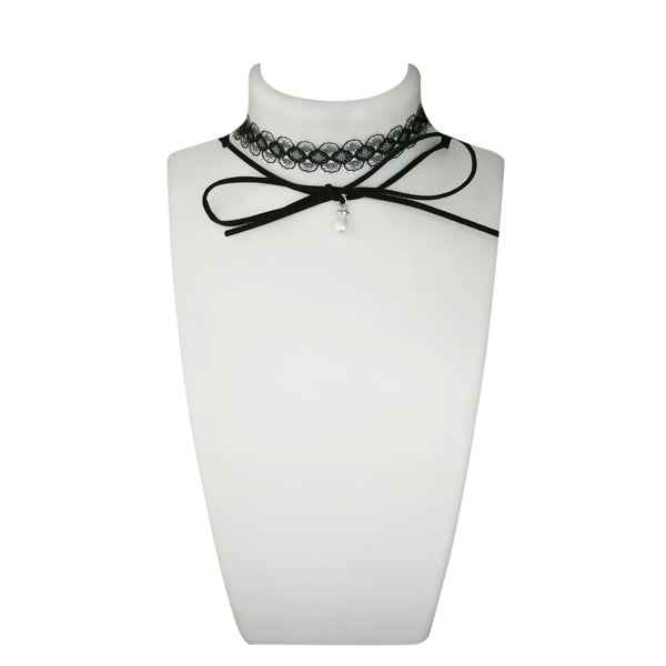 Jeweljunk Black Lace Choker Necklace