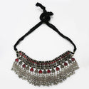 Jeweljunk Grey Meenakari Rhodium Plated Statement Necklace