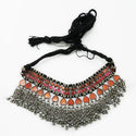 Jeweljunk Brown Meenakari Rhodium Plated Statement Necklace