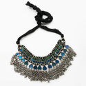 Jeweljunk Blue Meenakari Rhodium Plated Statement Necklace