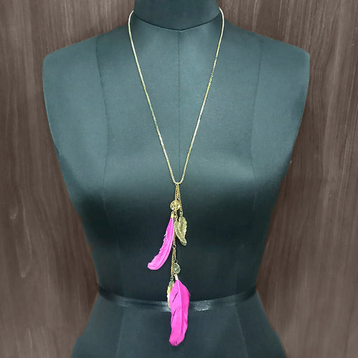 Urthn Pink Feather Gold Plated Chain Pendant