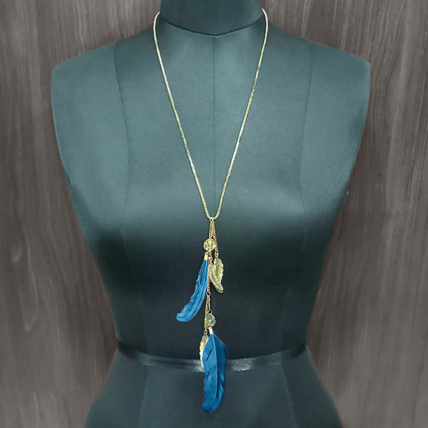 Urthn Blue Feather Gold Plated Chain Pendant
