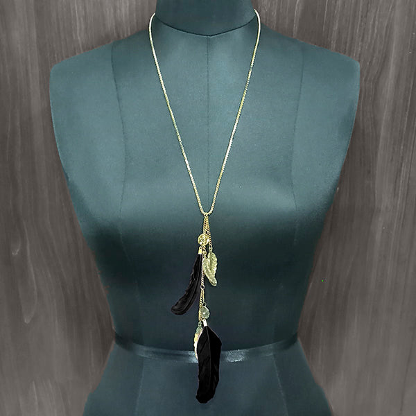 Urthn Black Feather Gold Plated Chain Pendant