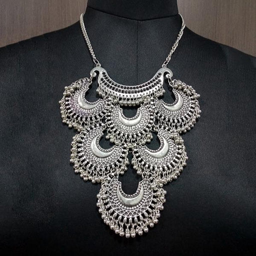 Jeweljunk Rhodium Plated Afghani Statement Necklace