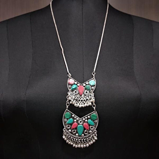 Jeweljunk Multi Resin Stone Meenakari Statement Necklace