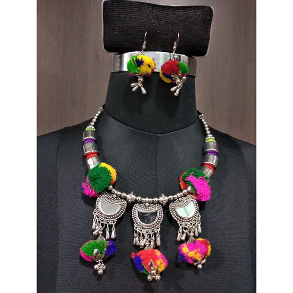 Jeweljunk Multi Thread Rhodium Plated Navratri Necklace Set