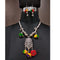 Jeweljunk Rhodium Plated Multi Thread Navratri Necklace Set