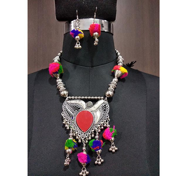 Jeweljunk Multicolour Thread Beads Navratri Necklace Set