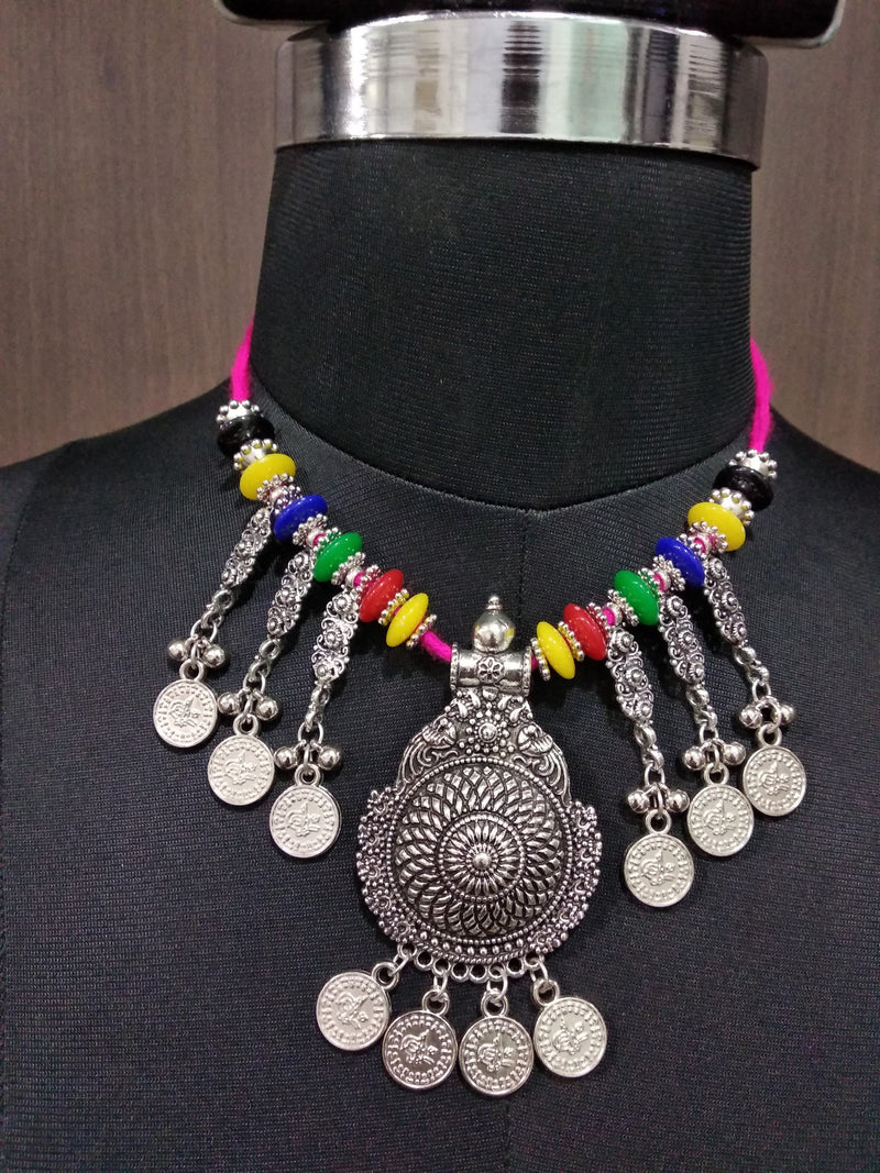 Jeweljunk Multicolour Beads Coin Rhodium Plated Navratri Necklace Set