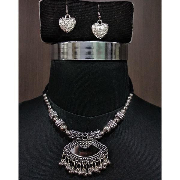 Jeweljunk  Rhodium Plated Glass Beads Navratri Necklace Set