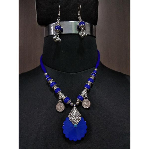 Jeweljunk Rhodium Blue Beads Navratri Necklace Set