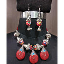 Jeweljunk Red Beads Navratri Necklace Set