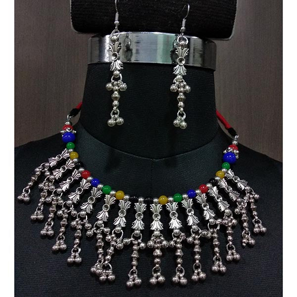 Jeweljunk Rhodium Plated Multicolor Beads Navratri Necklace Set