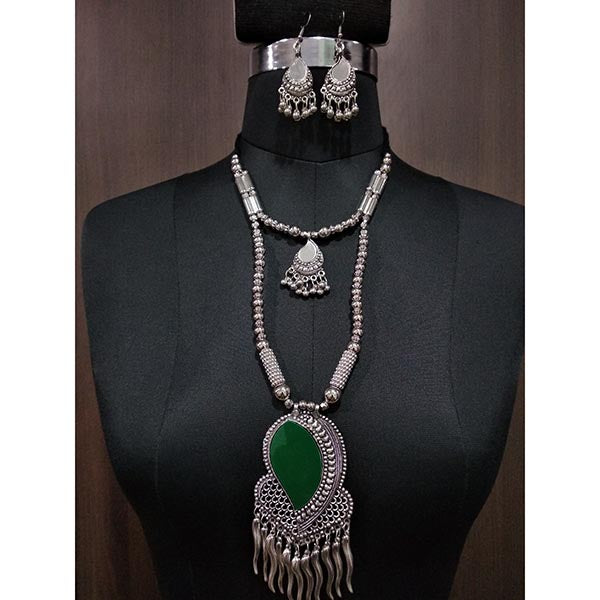 Jeweljunk Green Beads Rhodium Plated Navratri Necklace Set