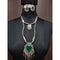 Jeweljunk Green Beads Rhodium Plated Heart Design Navratri Necklace Set