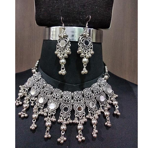 Jeweljunk  Beads Drop Navratri Glass Necklace Set