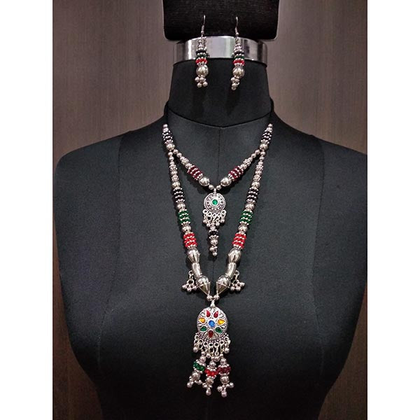 Jeweljunk Multicolour Beads Layer Navratri Necklace Set