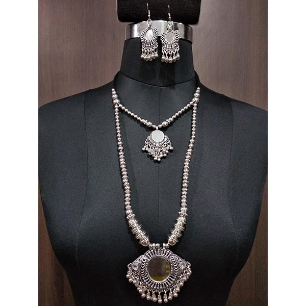 Jeweljunk Rhodium Plated Layer Navratri Necklace Set