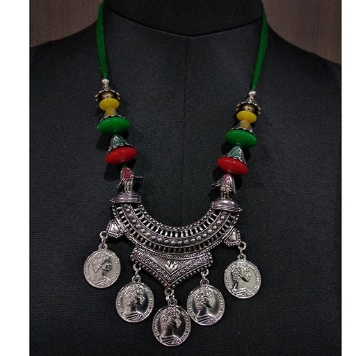 Jeweljunk Beads Coins Rhodium Plated Thread Navratri Necklace