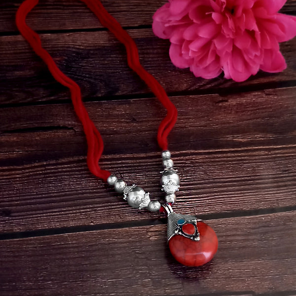 Jeweljunk Oxidised Plated Red color Necklace