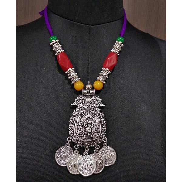 Jeweljunk Multicolor Beads Rhodium Plated Thread Navratri Necklace