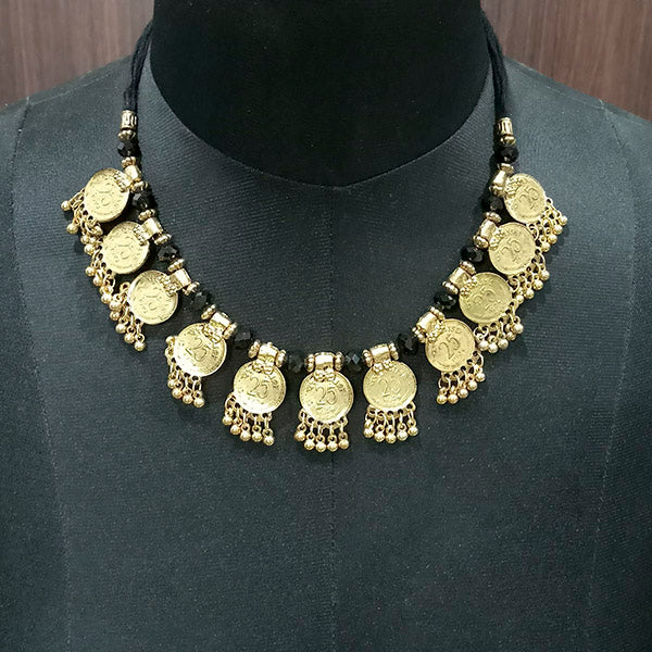 Jeweljunk Gold Plated Coin Bib Statement Necklace