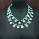 Jeweljunk Rhodium Plated Coin Statement Necklace