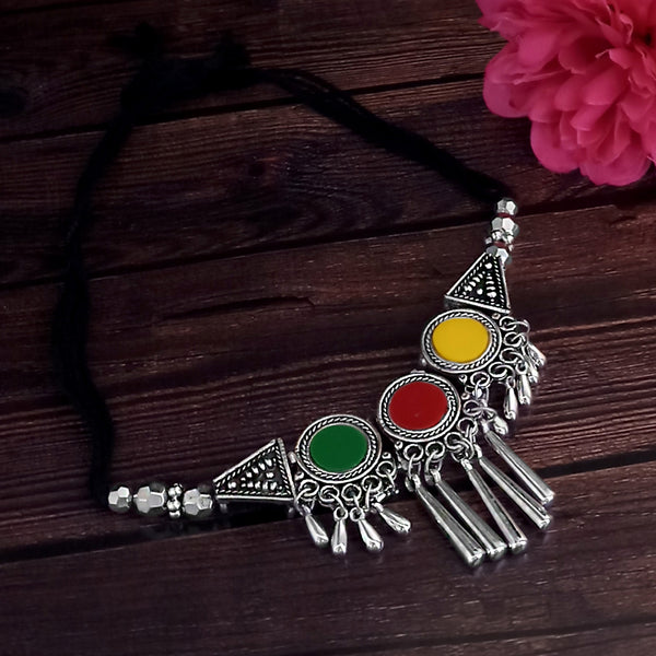 Jeweljunk Oxidised Plated Multicolor Necklace